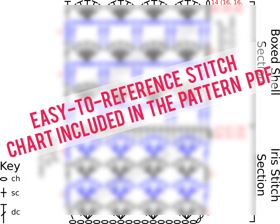boxed shell stitch chart pattern and iris crochet stitch chart
