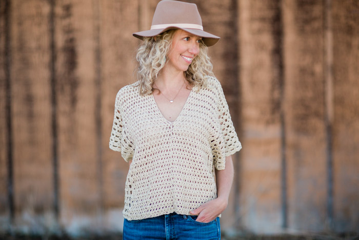 "Summer crochet top free pattern made from two rectangles. Lion Brand LB Collection Cotton Bamboo in ""Magnolia."""