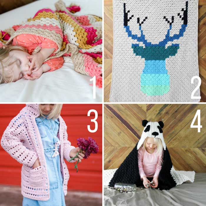 Modern free crochet patterns for babies and kids including a panda hooded blanket, a hexagon cardigan, a c2c deer afghan and a granny stripe afghan with tassels.