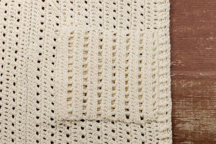 Tutorial: How to add pockets to a crochet cardigan.