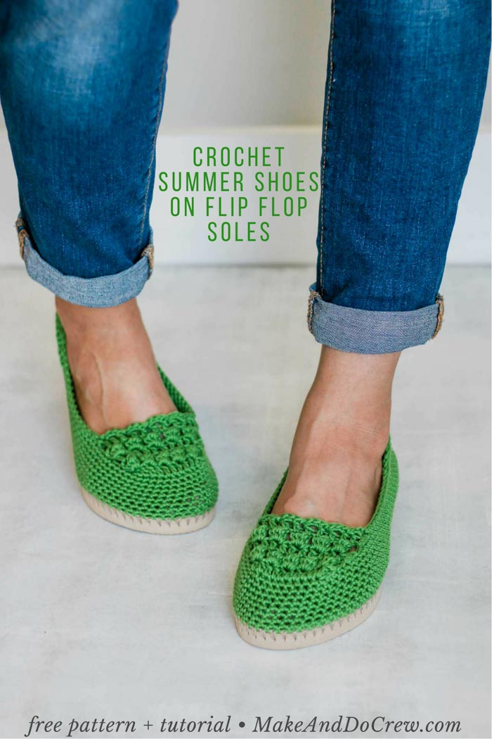 These lightweight, slip on shoes are crocheted on top of rubber flip flop soles. This is an easy, beginner pattern with a video tutorial. These work great indoors as slippers or outside as shoes.