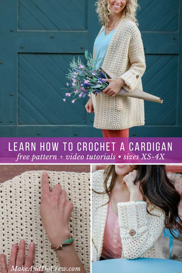 Learn how to make this easy lightweight crochet cardigan (including plus sizes) with this free pattern and step-by-step video tutorial featuring Lion Brand Vanna's Style yarn.