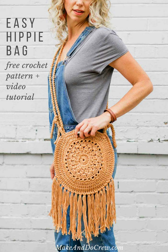 Make this simple crochet hippie purse from two circles. Follow the free pattern or video tutorial to add some boho style to your handmade bag collection. Free pattern!