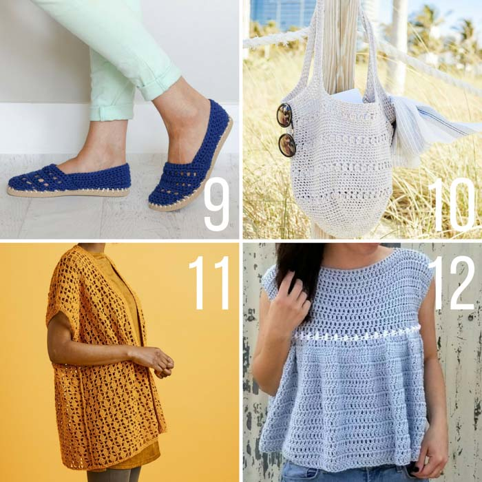 A collection of free summer crochet patterns made with Lion Brand yarn including crochet shoes, a tote bag and a kimono cardigan.