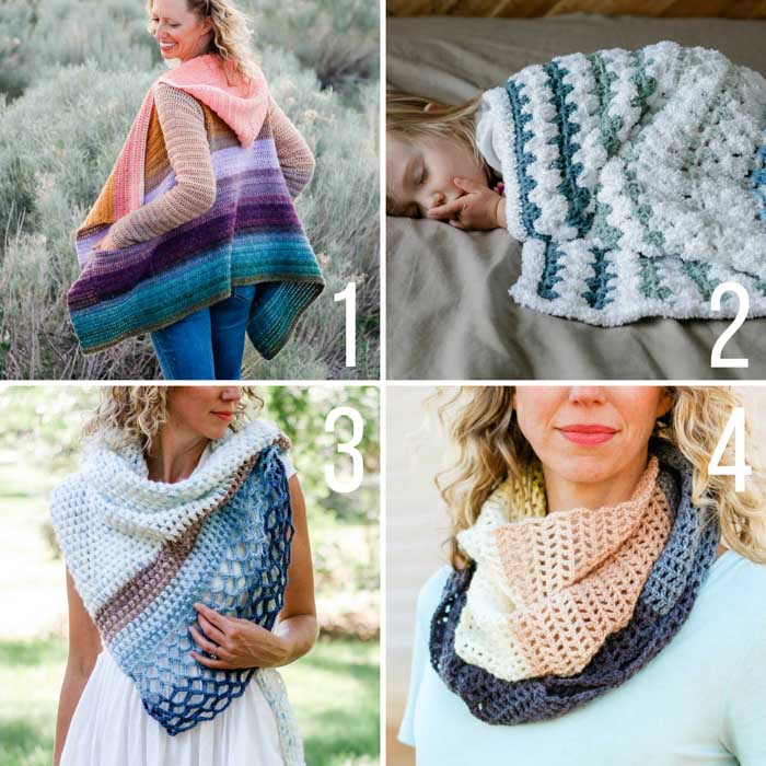 Four free crochet patterns made from Lion Brand Mandala Yarn including a cardigan, a baby blanket, a shawl and a scarf. Many video tutorials included!