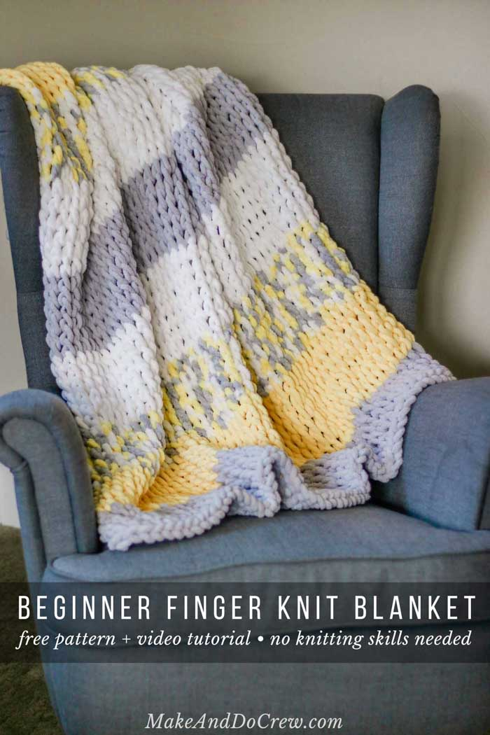 26cf145228ea8a This free beginner finger knitting blanket pattern is part of a  collaboration with Lion Brand yarn. This post contains affiliate links.