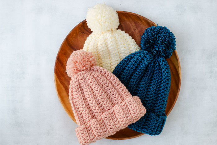 Very easy free crochet beanie pattern made from a rectangle in kids and adult sizes.