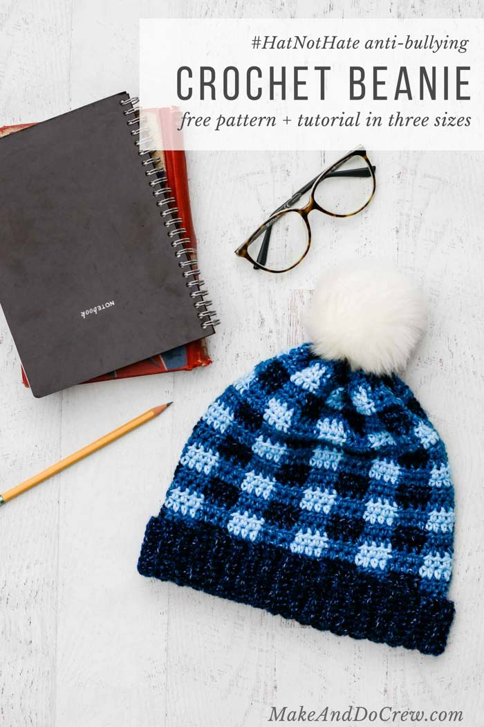 Support the #HatNotHat anti-bullying campaign with this free crochet plaid hat pattern in child, women and men's sizing. Easy color changes and very few ends to weave in! Made with Lion Brand Jeans yarn.