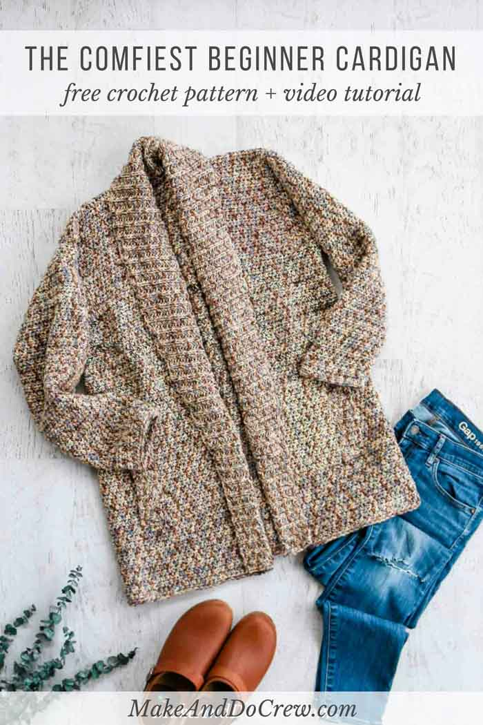 Learn how to crochet a long sleeve cardigan with this free pattern and video tutorial using Lion Brand Comfy Cotton Blend (aka Flikka).