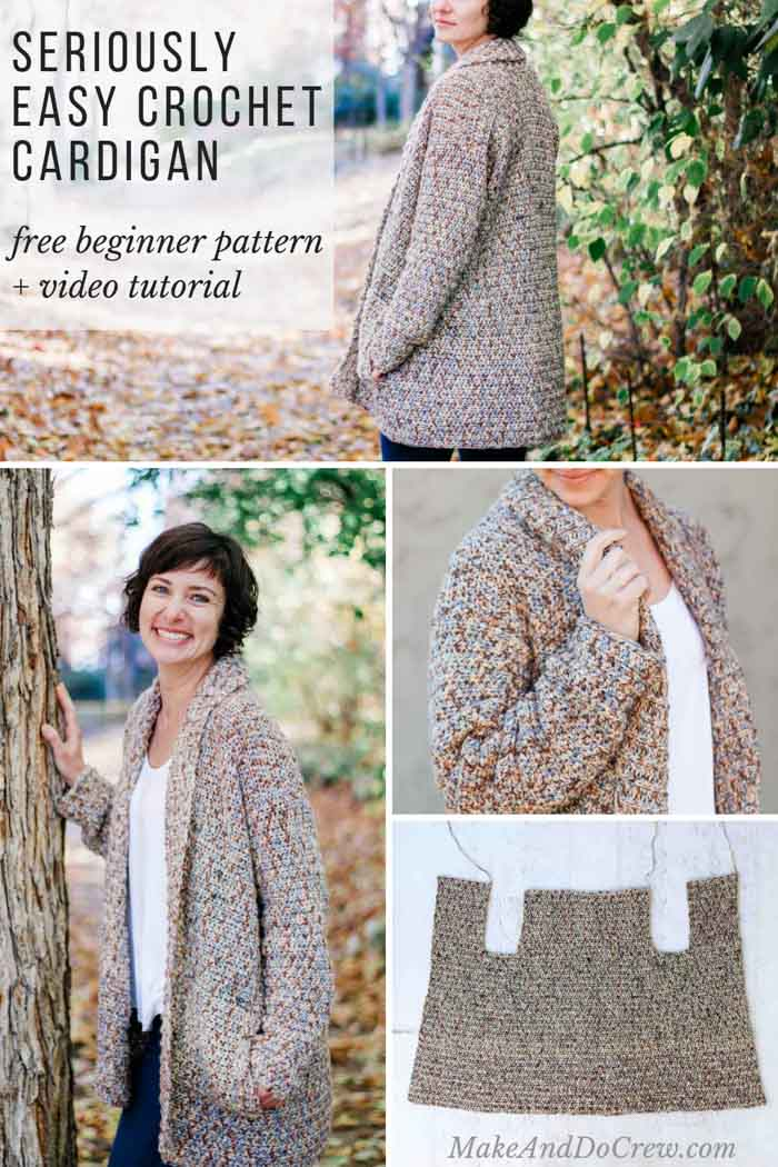 This easy, cotton crochet cardigan pattern for beginners uses a very simple construction to create a show-stopping look with entry level skills. Use the free pattern with plus sizes + step-by-step video tutorial to make a modern cotton blend sweater you can wear year round!  #makeanddocrew #lionbrand #cotton #freepattern #free #pattern #video #tutorial #videotutorial #cardigan #sweater #pockets