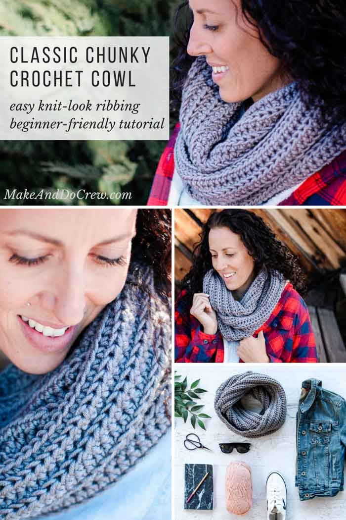 The ribbed-knit look on this free crochet infinity scarf pattern is extremely easy, thanks to a slight variation on basic crochet stitches. Beginner-friendly tutorial featuring Lion Brand Yarn.  #crochet #cowl #scarf #infinityscarf #circlescarf #ribbed #tutorial #freepattern
