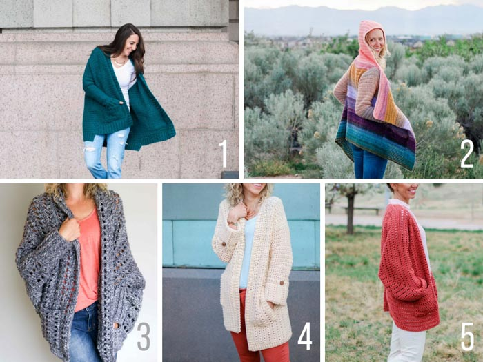 Free long sleeve crochet cardigan patterns with pockets from Make & Do Crew. Many of these include video tutorials as well.