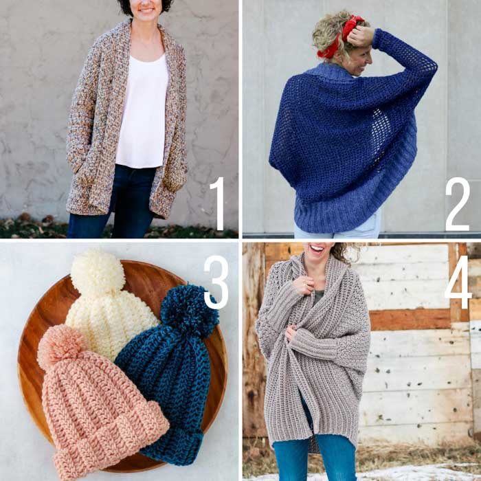 Free crochet patterns for beginners with step-by-step tutorials. Includes sweaters, cardigans, shrugs and a beanie.