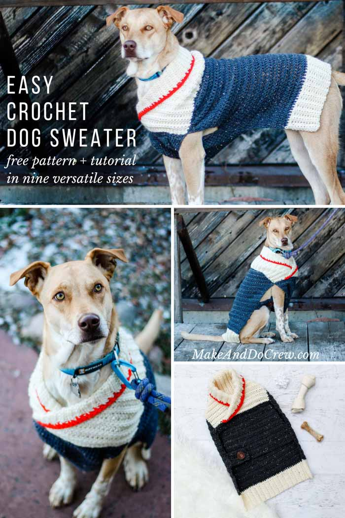 Easy Crochet Dog Sweater Free Pattern Tutorial In Nine Sizes For