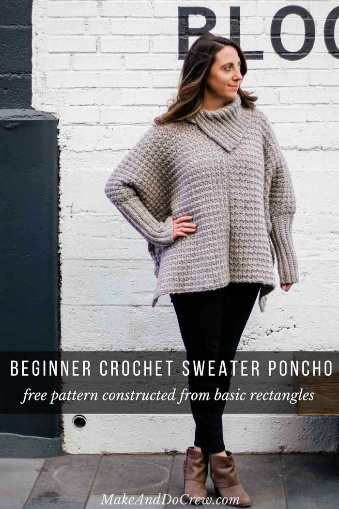 Crochet Poncho With Sleeves Free Pattern Made From Easy Rectangles