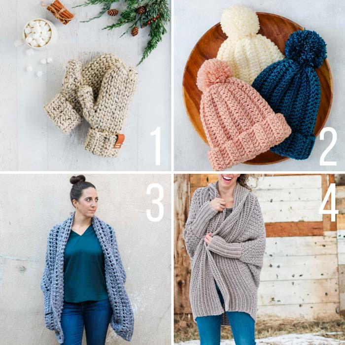 Free crochet patterns and tutorials for beginners featuring mittens, simple sweaters made from rectangles and a ribbed beanie.