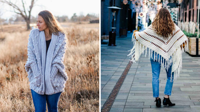 Two free crochet patterns featuring Lion Brand Color Made Easy yarn, including the Haven Cardigan and the Whisper Triangle Scarf from Make and Do Crew.