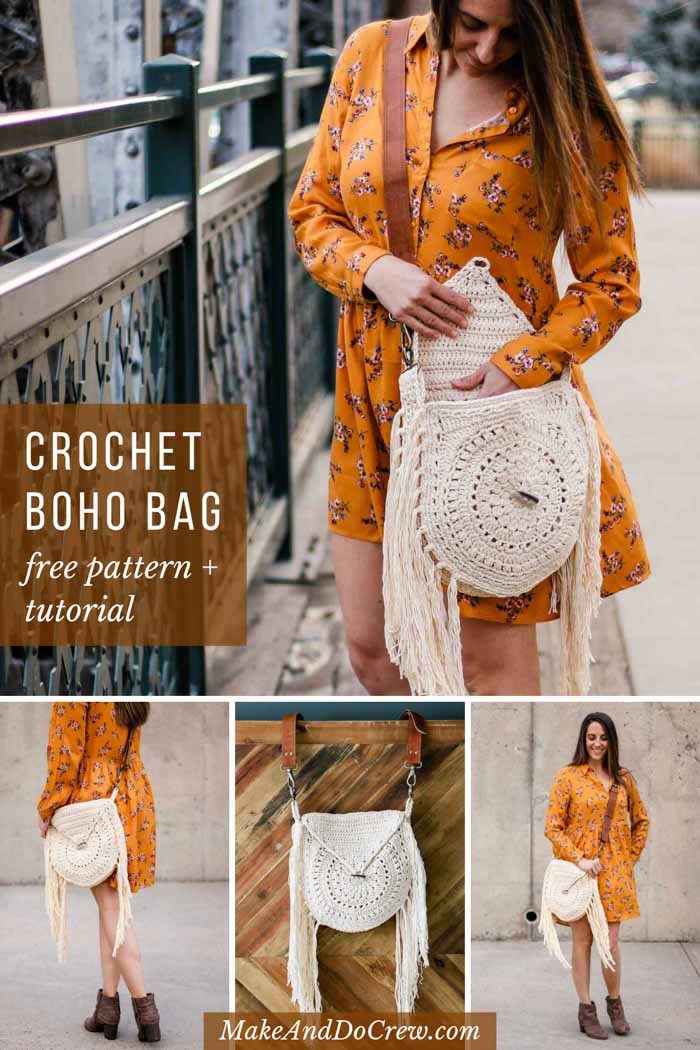 Made from richly textured circles, this fringed crochet bag pattern comes together in three fun pieces. Finish it off with crocheted details or add a wooden button and leather strap to make it just your style.
