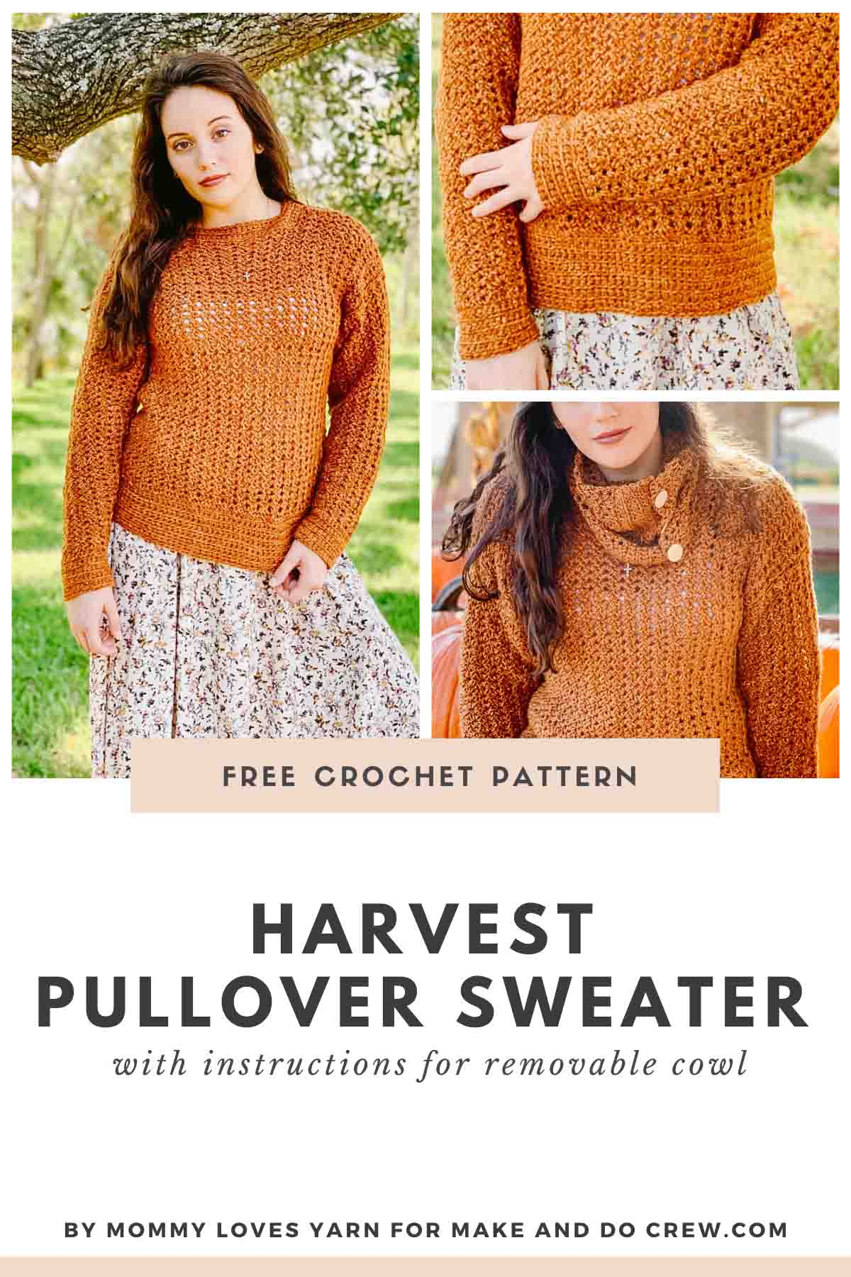 Made this simple crochet pullover sweater pattern with removable cowl to create two different looks with one easy garment! Free pattern made with Lion Brand Jeans yarn.