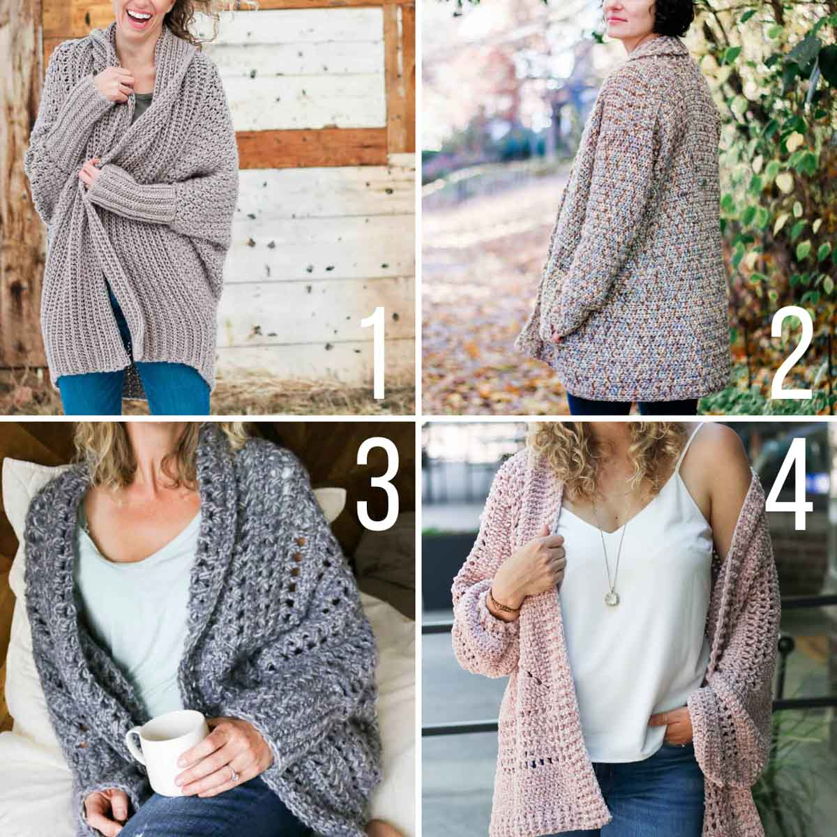 Four free crochet cardigan patterns from Make & Do Crew. All of these are free crochet patterns made with Lion Brand yarn.