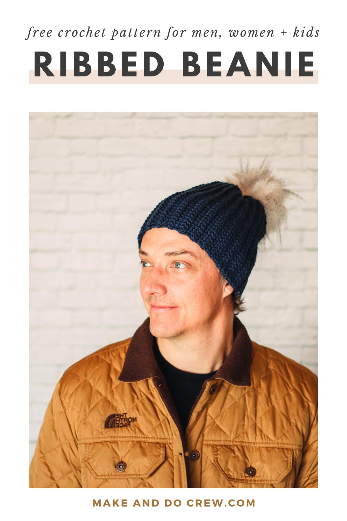 Rugged man wearing a modern, ribbed crochet hat made from Lion Brand Color Made Easy Yarn.