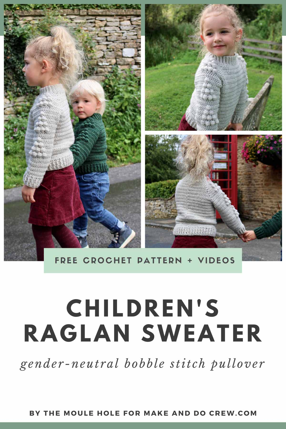 This raglan crochet sweater pattern for babies and kids is great for boys and girls alike. Make it for Christmas or general winter coziness! Free pattern featuring Lion Brand Wool-Ease.
