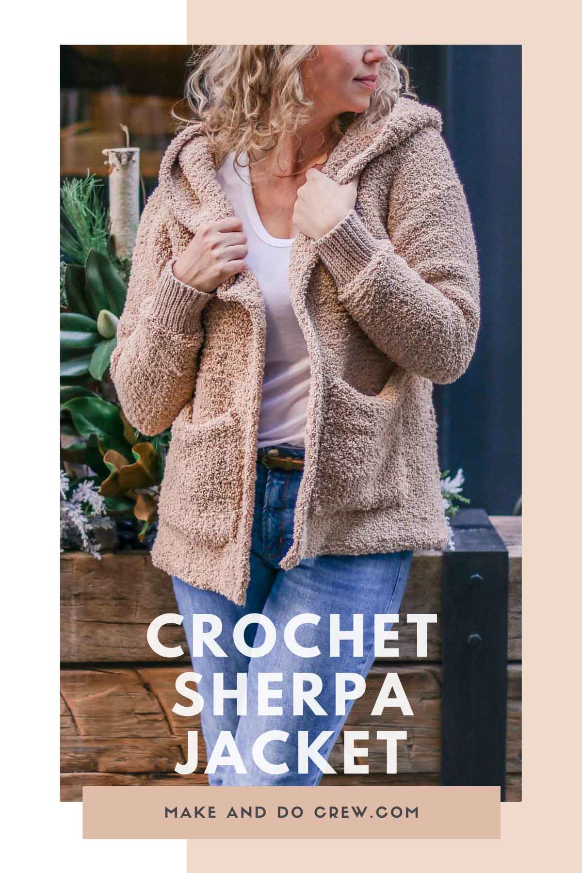 Use basic Tunisian crochet skills, you can make this hooded crochet sherpa sweater jacket pattern from Make & Do Crew. Free pattern + beginner video tutorials!