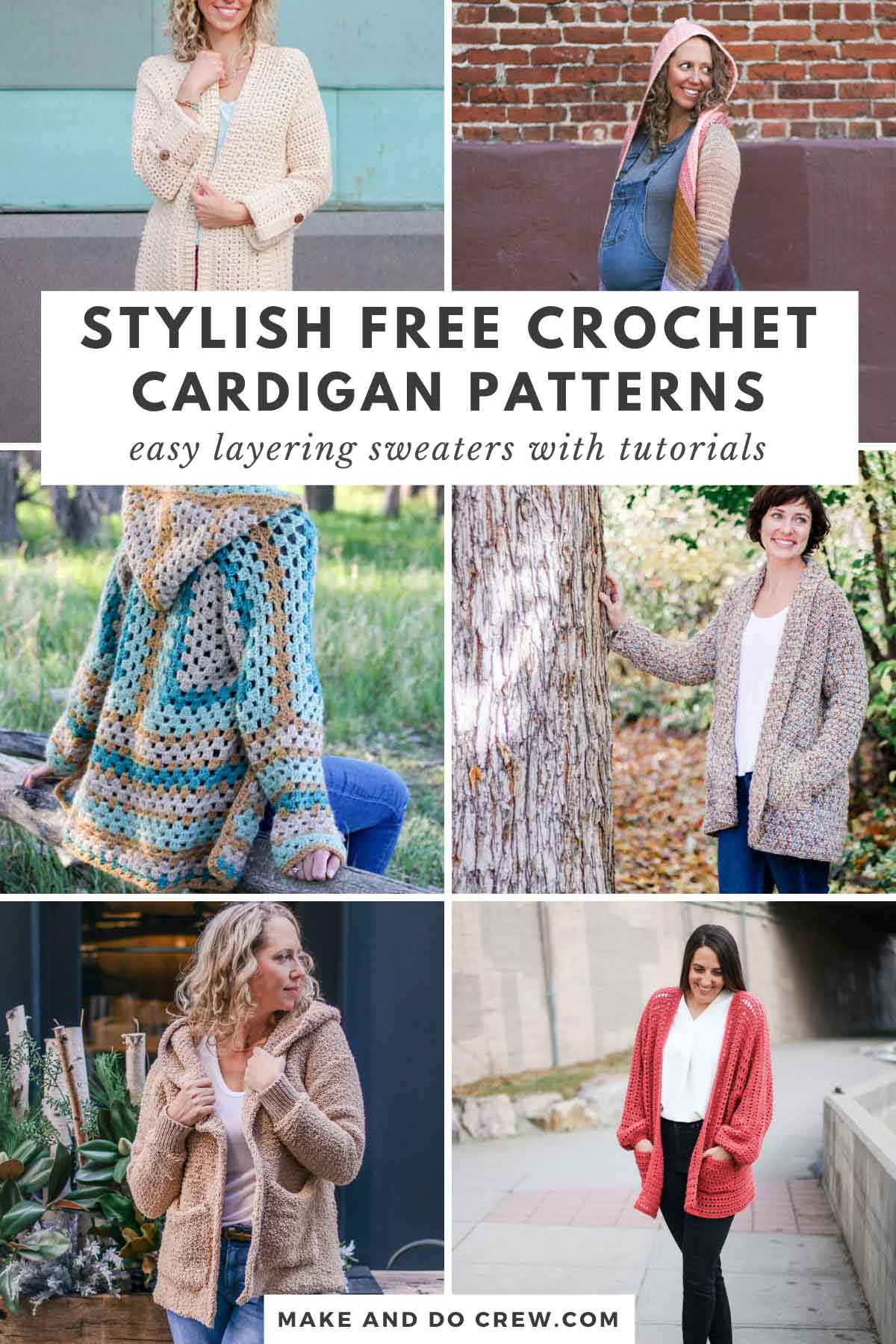 A collection of free crochet cardigan sweater patterns made with Lion Brand Yarn.