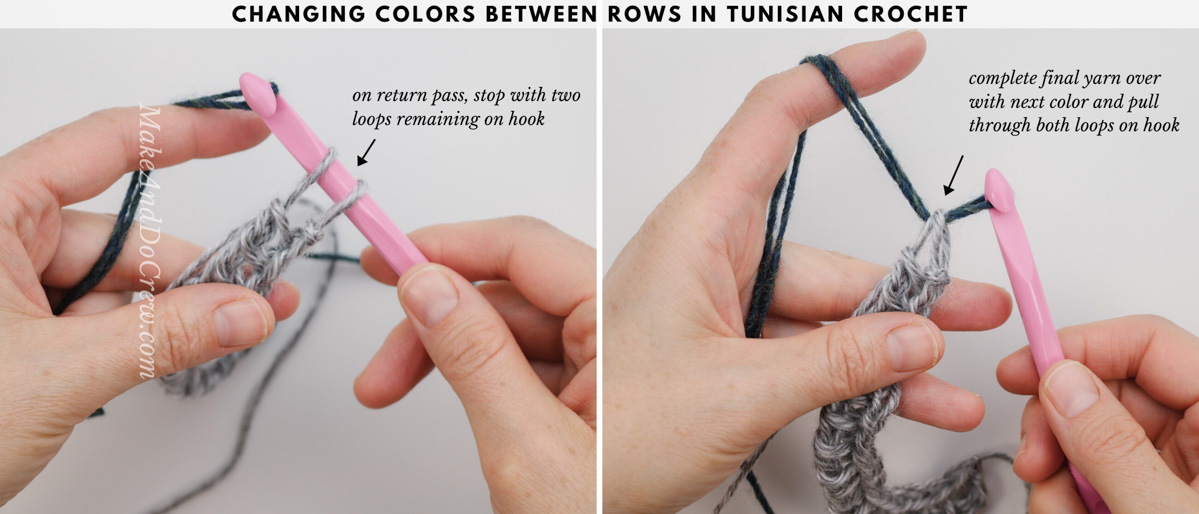 Tutorial showing how to change colors in between rows in Tunisian crochet.
