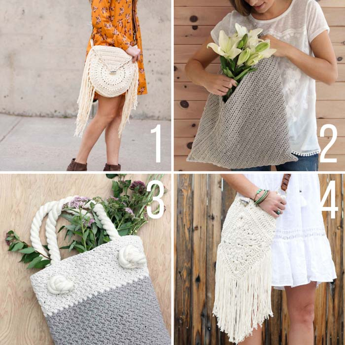 Free crochet bag patterns including a crochet market tote, an easy purse, and two boho bags.