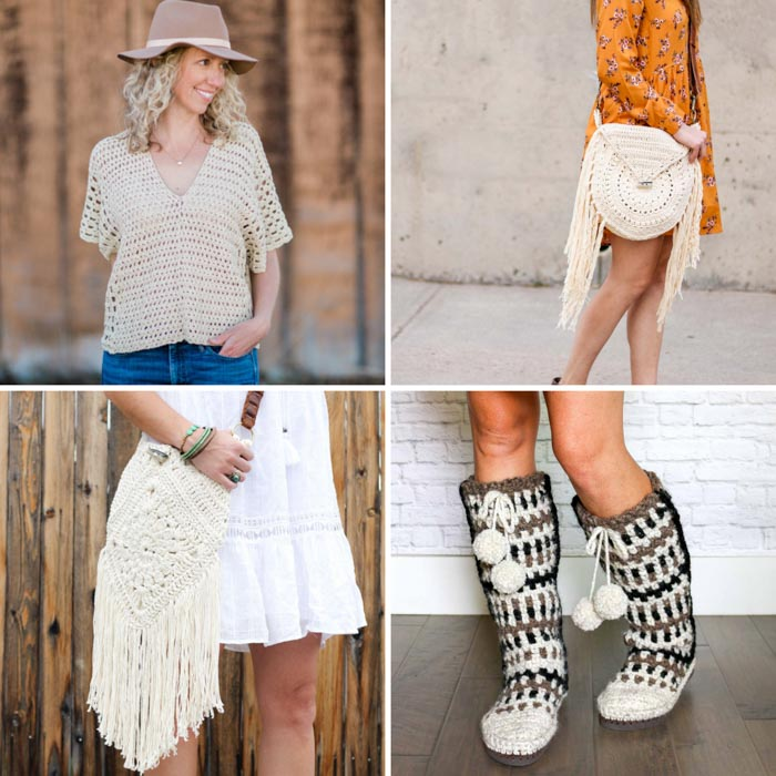 Four free bohemian crochet patterns including a bag, a fringed purse, a poncho and crochet boots with flip flop soles.