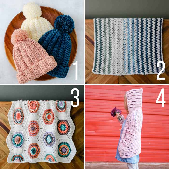 Free crochet patterns for kids including blankets, hats and a cardigan.