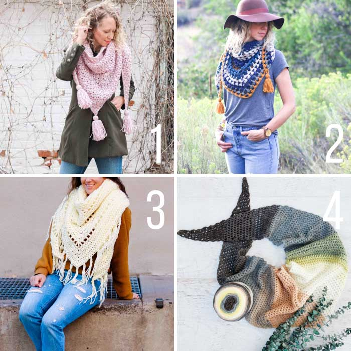 Free crochet shawl and triangle scarf patterns including pattern that use Mandala cakes, have tassels and fringe!