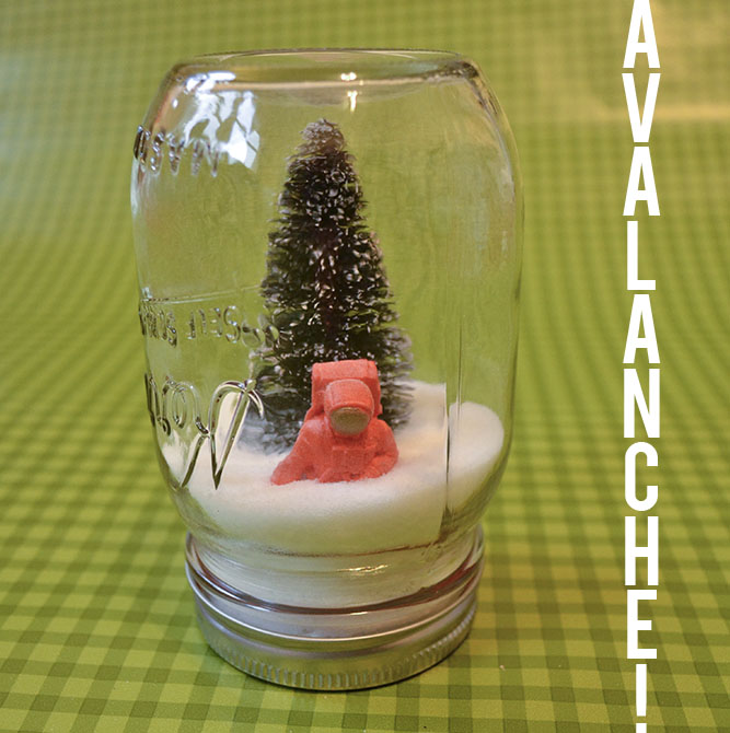 DIY mason jar snow globe tutorial. Super easy, super crafty Christmas decor idea and a great project to do with kids!| MakeAndDoCrew.com