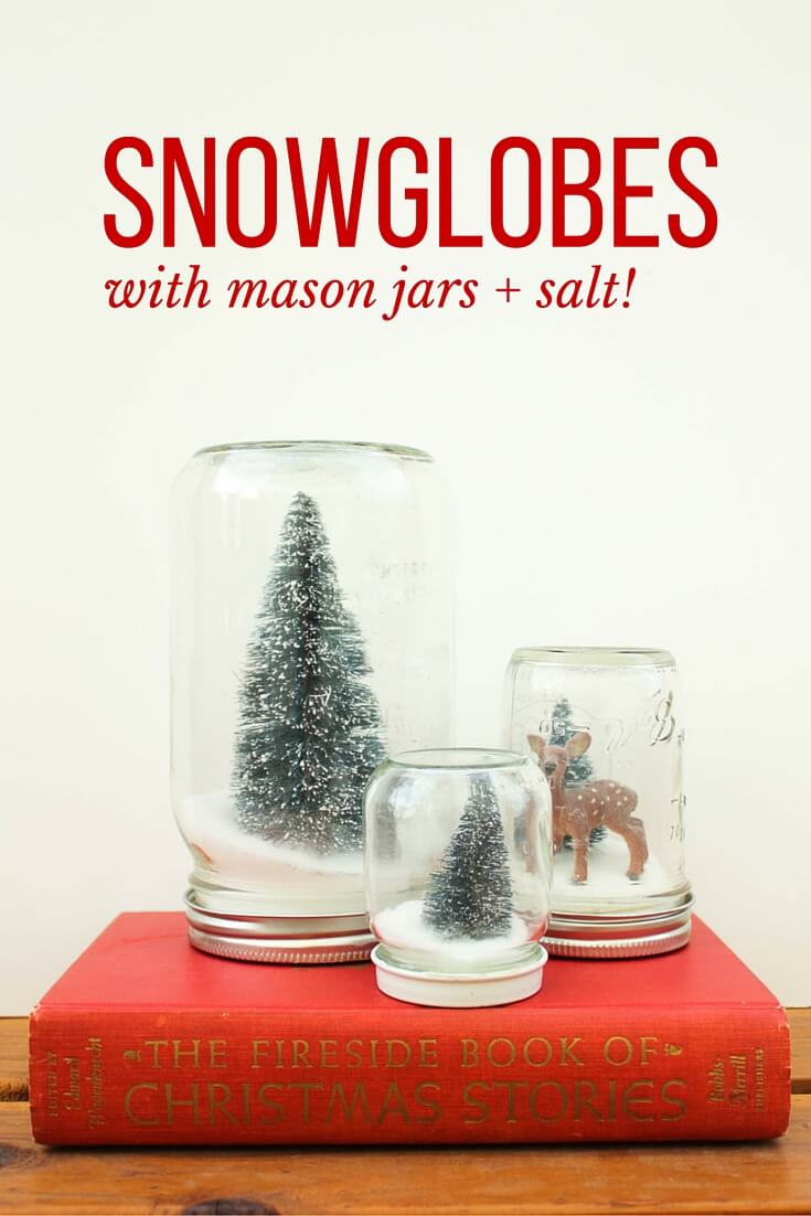 How to make Anthropologie knockoff snow globes with mason jars and salt. Easy and inexpensive Christmas gift idea. Click to see full tutorial. | MakeAndDoCrew.com