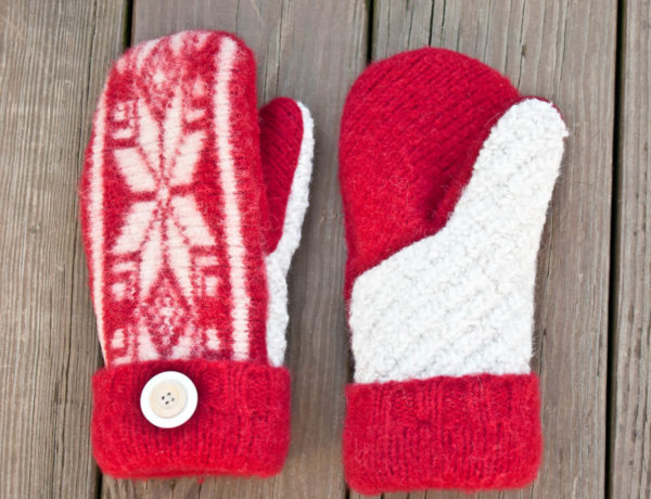 Make a felted sweater into a pair of mittens. Tutorial includes printable pattern! | MakeAndDoCrew.com