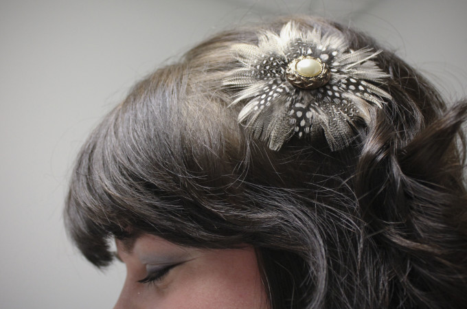 Upcycle a Vintage Earring Into a Feather Hair Clip