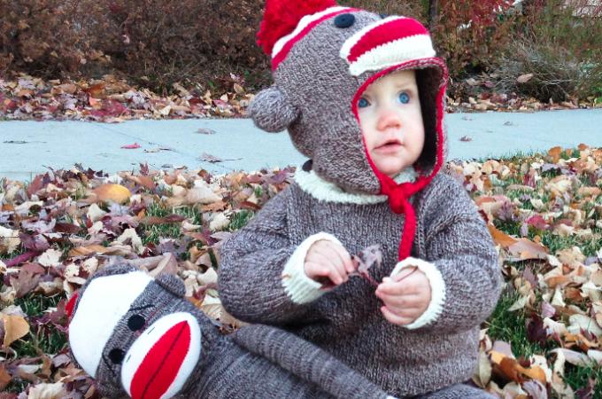 Baby Knit Sock Monkey Costume Tutorial