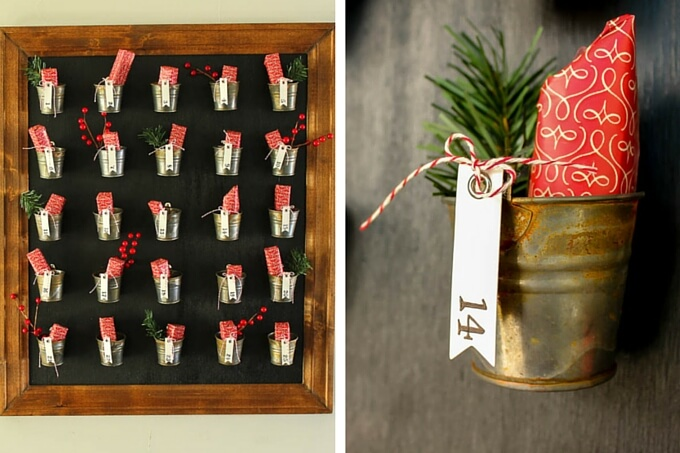 DIY Pottery Barn knockoff advent calendar idea with step-by-step tutorial | MakeAndDoCrew.com