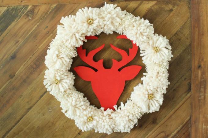 DIY Christmas Wreath Tutorial (with Pom Poms!)