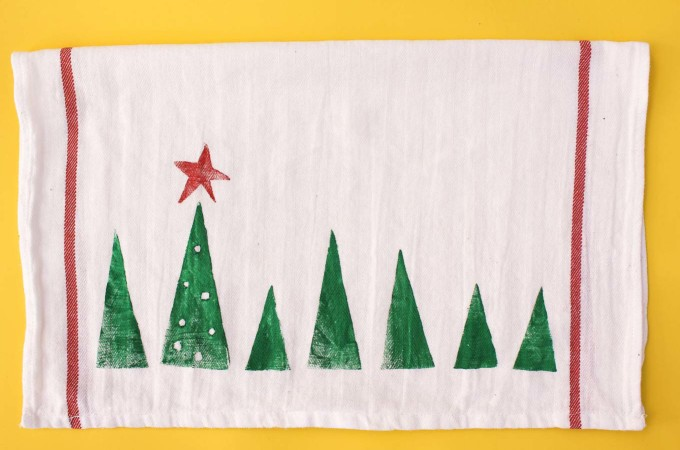 Stamped Tea Towel DIY Christmas Gift Idea