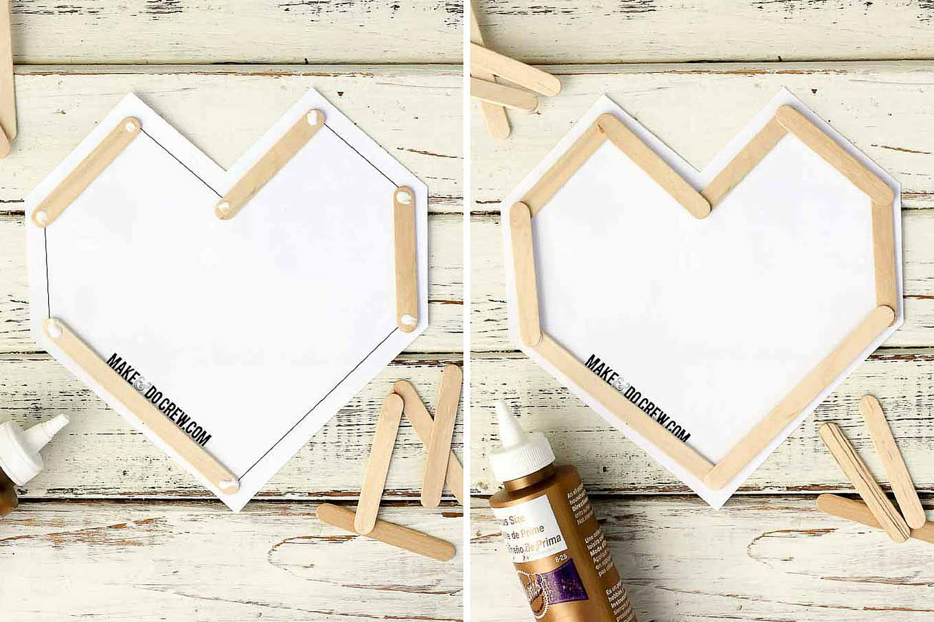 This DIY Valentine idea is perfect to make with kids (or not!) They are inexpensive, easy and double as wall art after Valentine's Day is over. Download the free template at MakeAndDoCrew.com