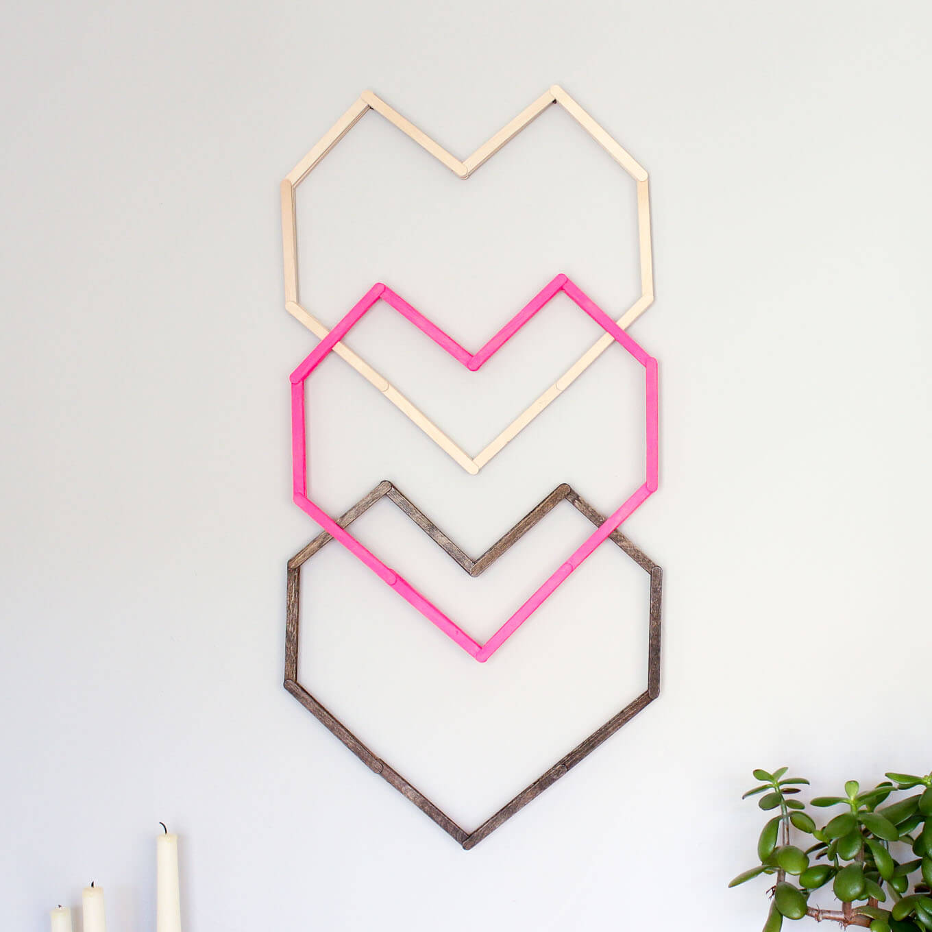 Geometric Heart Diy Wall Art With Popsicle Sticks