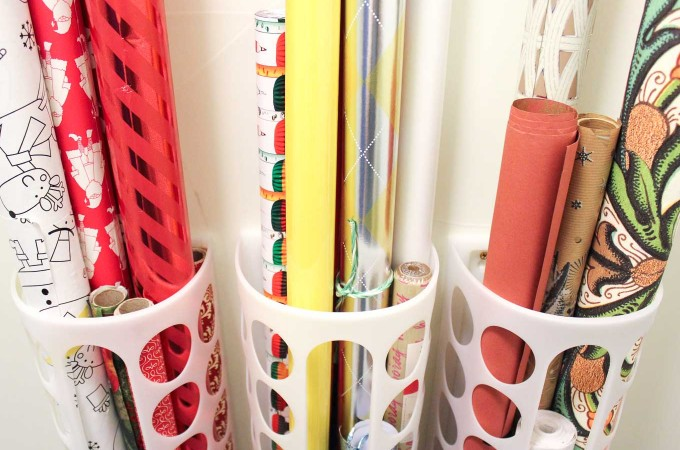 DIY Vertical Wrapping Paper Storage