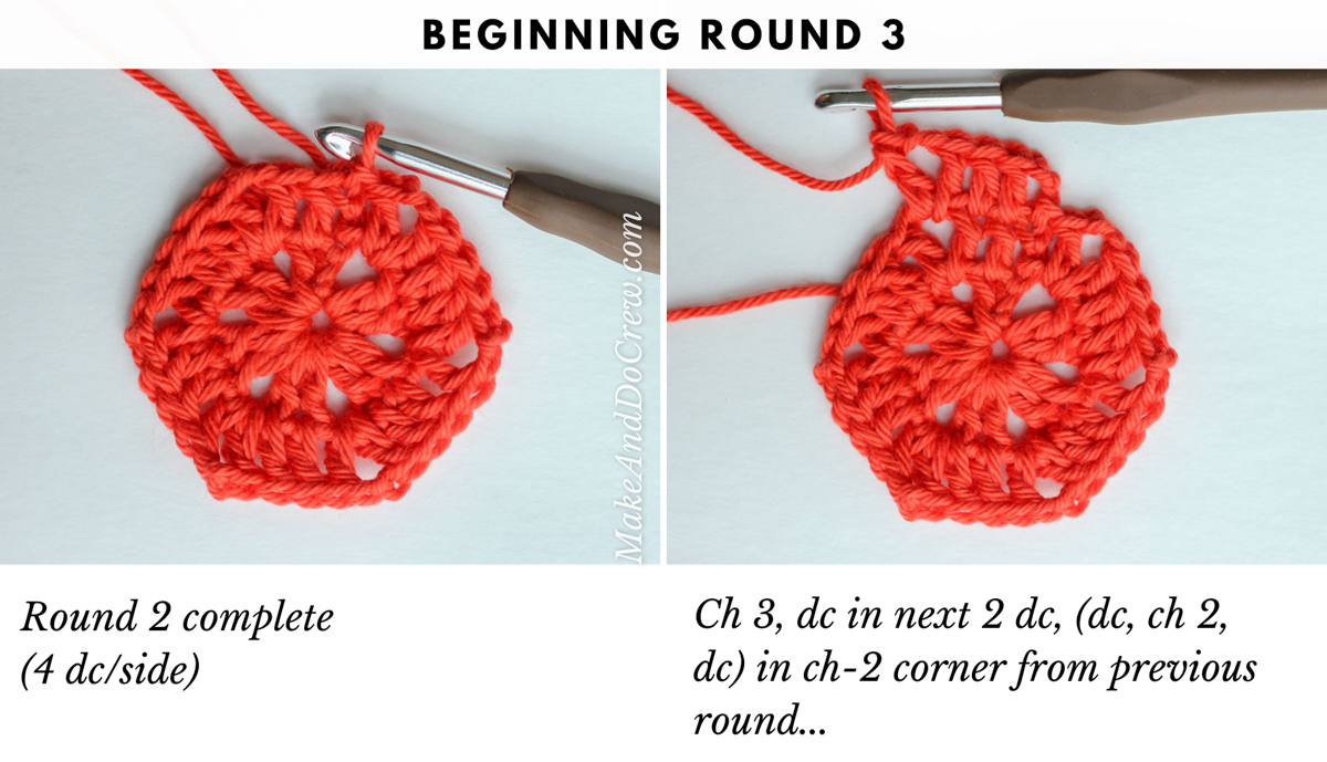 Step by step tutorial showing the third round of a crochet hexagon pattern.