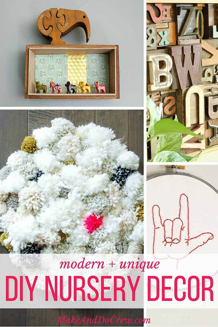 Put your spin on your sweet babe's new room with DIY nursery decor ideas that are fresh, modern and different from what every other kid born this year will have. Lots of gender neutral ideas that are good for a girl or a boy.| MakeAndDoCrew.com