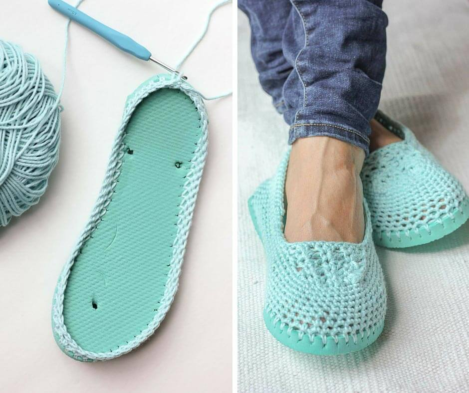 Cotton yarn and a flip flop sole make this free crochet slippers (or house shoes) pattern perfect for warmer weather. Click to get the full pattern. | MakeAndDoCrew.com