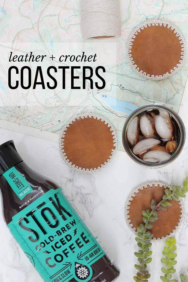 Masculine diy leather crochet coasters free pattern these diy leather coasters with crochet edging can be made in less than an hour and bankloansurffo Image collections