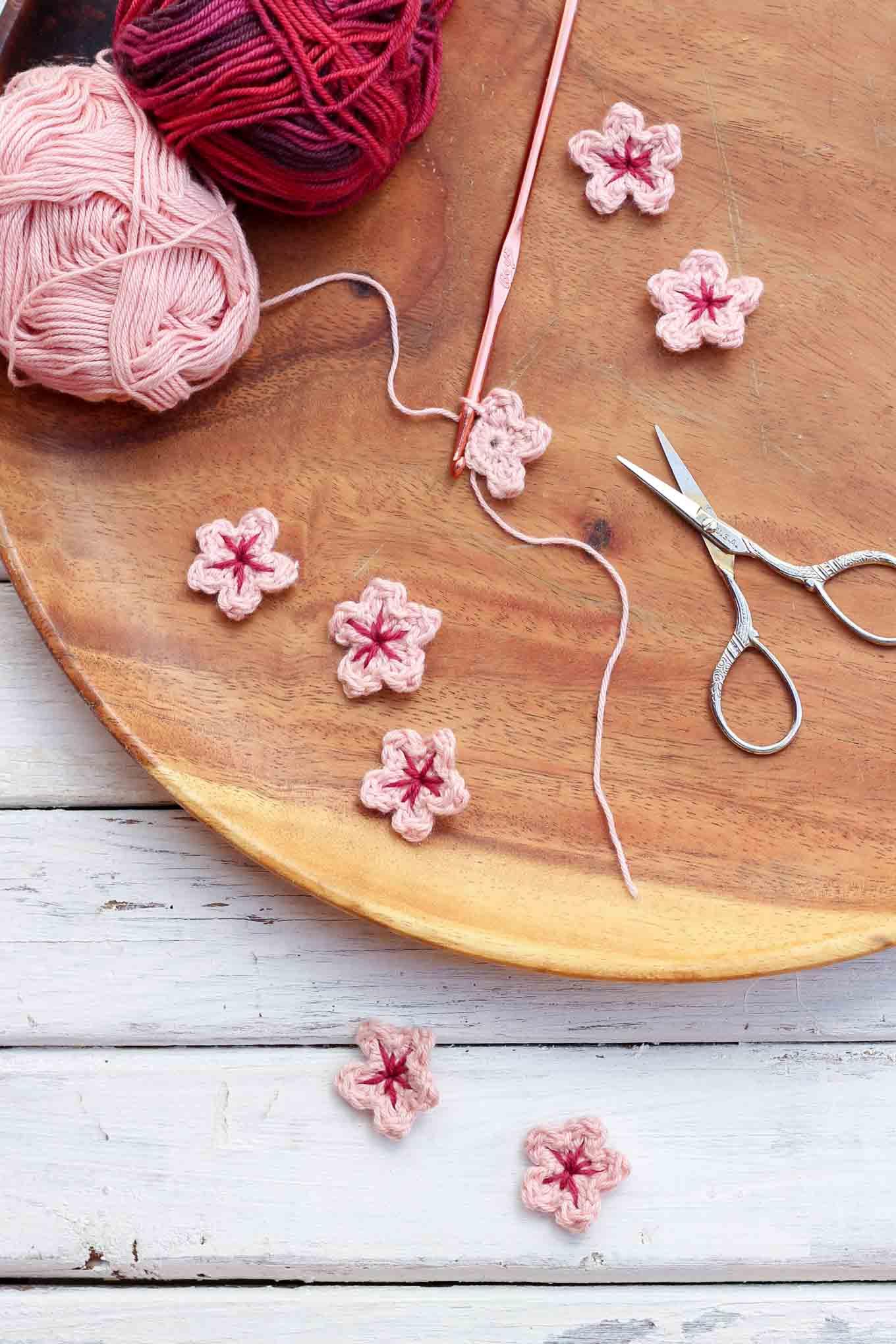 Crochet Cherry Blossom Flower Pattern - Make & Do Crew