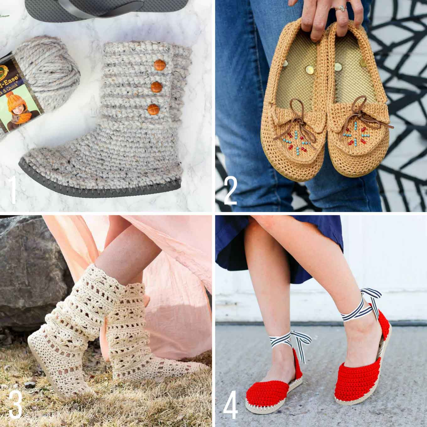 Flip flop crochet patterns -- free from Make and Do Crew